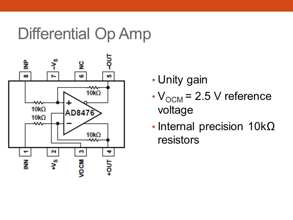 Differential Op Amp Unity gain VOCM = 2.5 V reference voltage