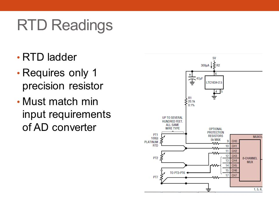 RTD Readings RTD ladder Requires only 1 precision resistor