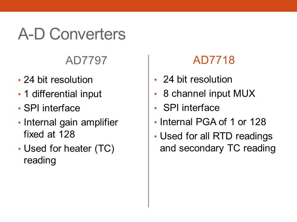 A-D Converters AD7797 AD7718 24 bit resolution 24 bit resolution