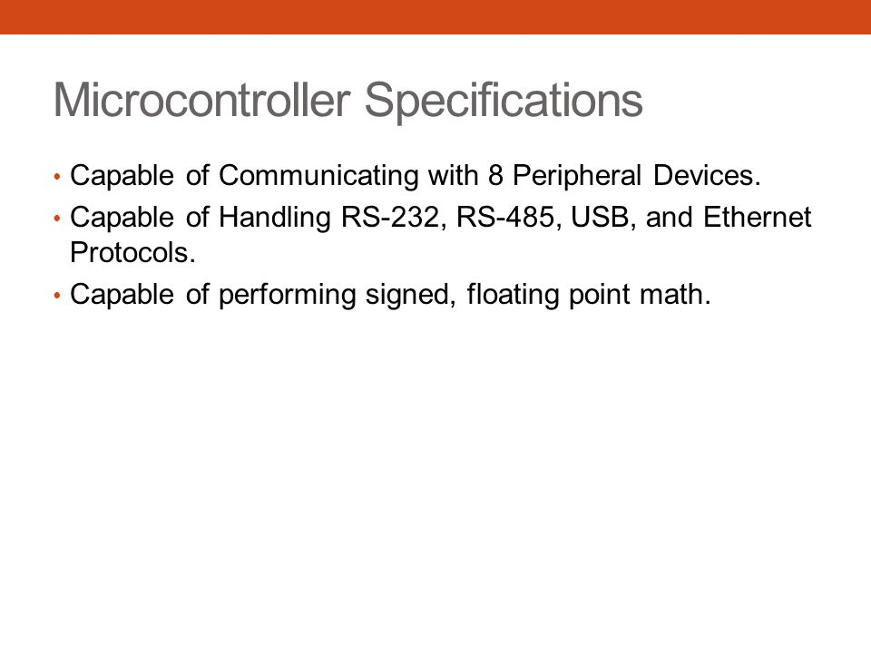 Microcontroller Specifications