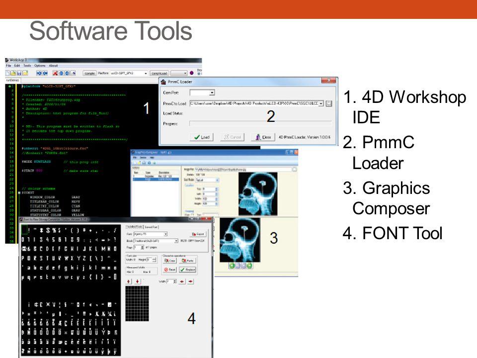 Software Tools 1. 4D Workshop IDE 2. PmmC Loader 3. Graphics Composer 4. FONT Tool