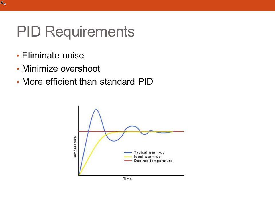 PID Requirements Eliminate noise Minimize overshoot