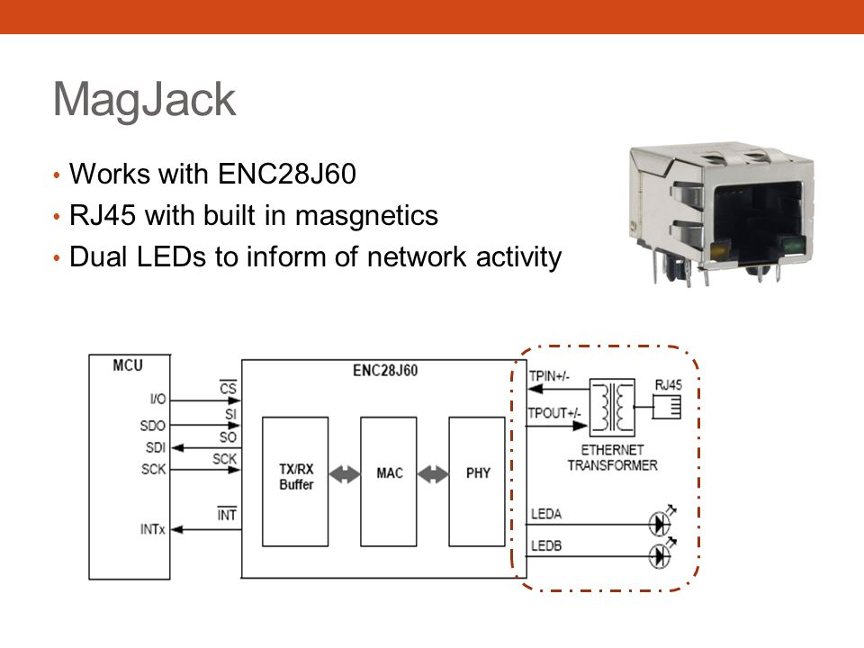 MagJack Works with ENC28J60 RJ45 with built in masgnetics