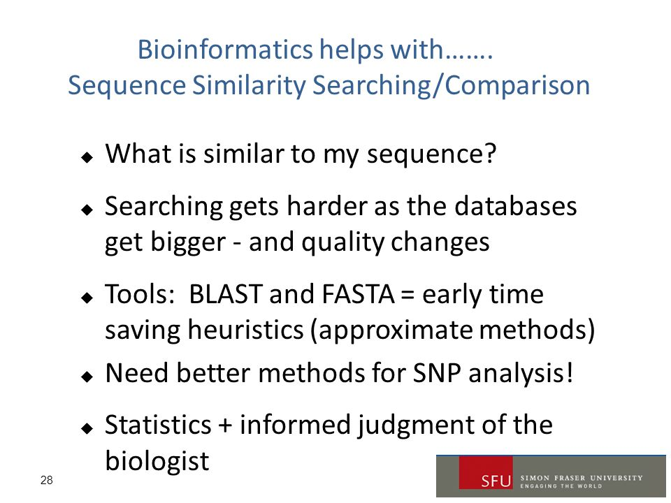 Bioinformatics helps with……. Sequence Similarity Searching/Comparison
