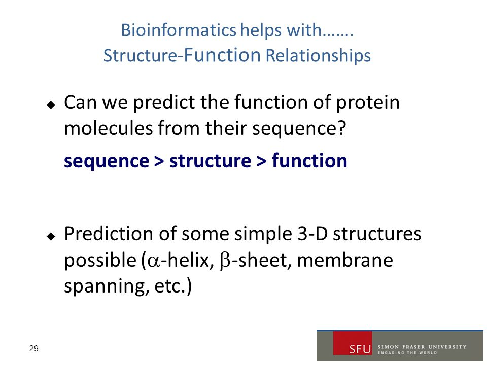 Bioinformatics helps with……. Structure-Function Relationships
