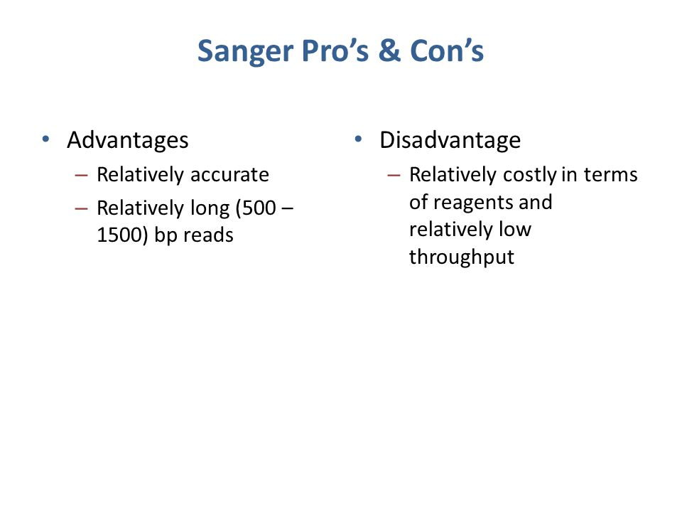 Sanger Pro's & Con's Advantages Disadvantage Relatively accurate