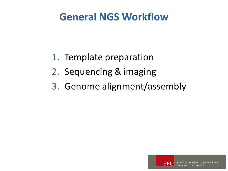 General NGS Workflow Template preparation Sequencing & imaging