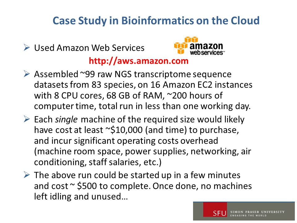 Case Study in Bioinformatics on the Cloud