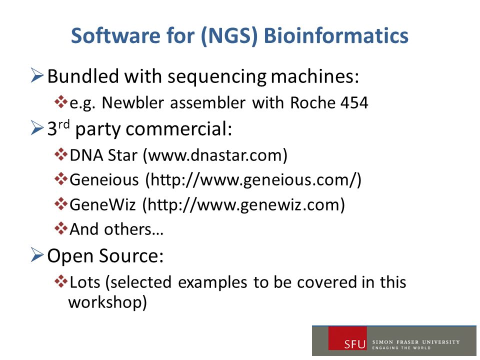 Software for (NGS) Bioinformatics