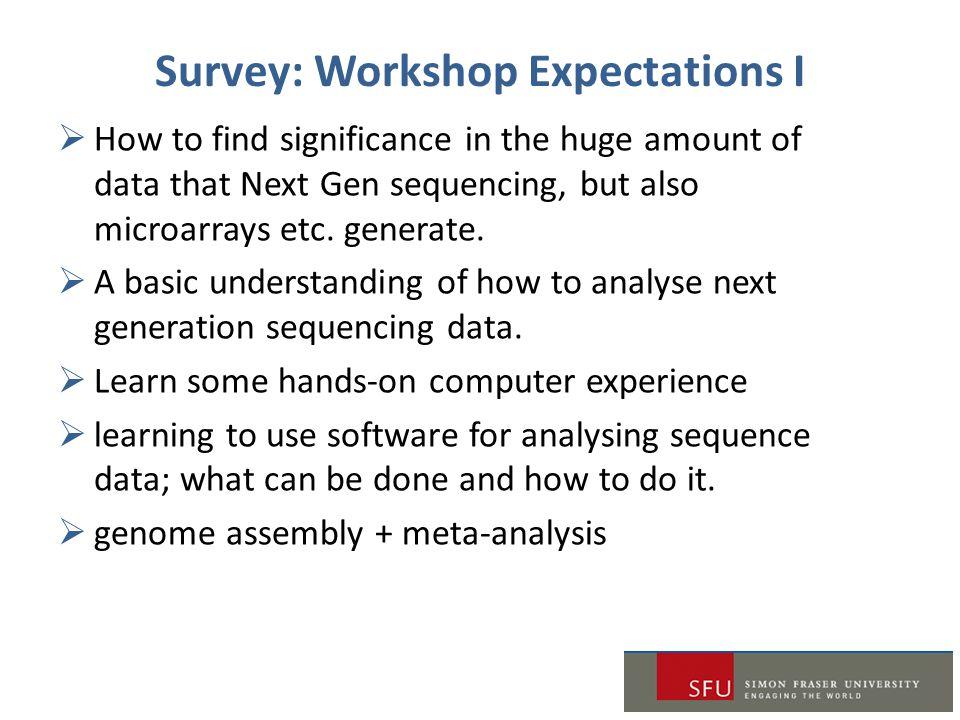 Survey: Workshop Expectations I