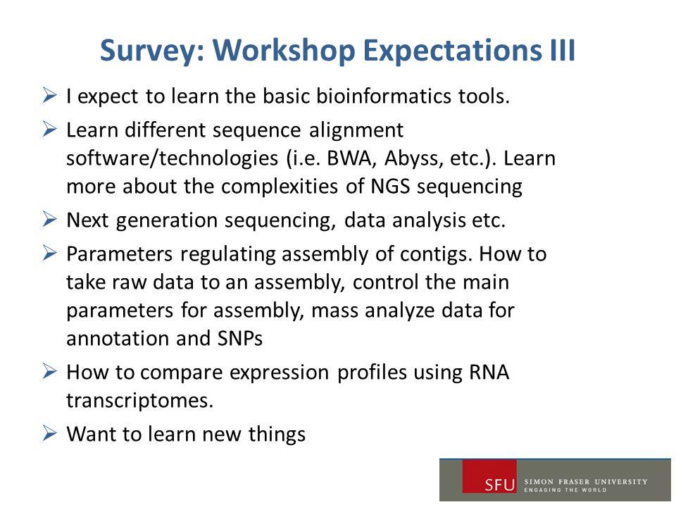 Survey: Workshop Expectations III