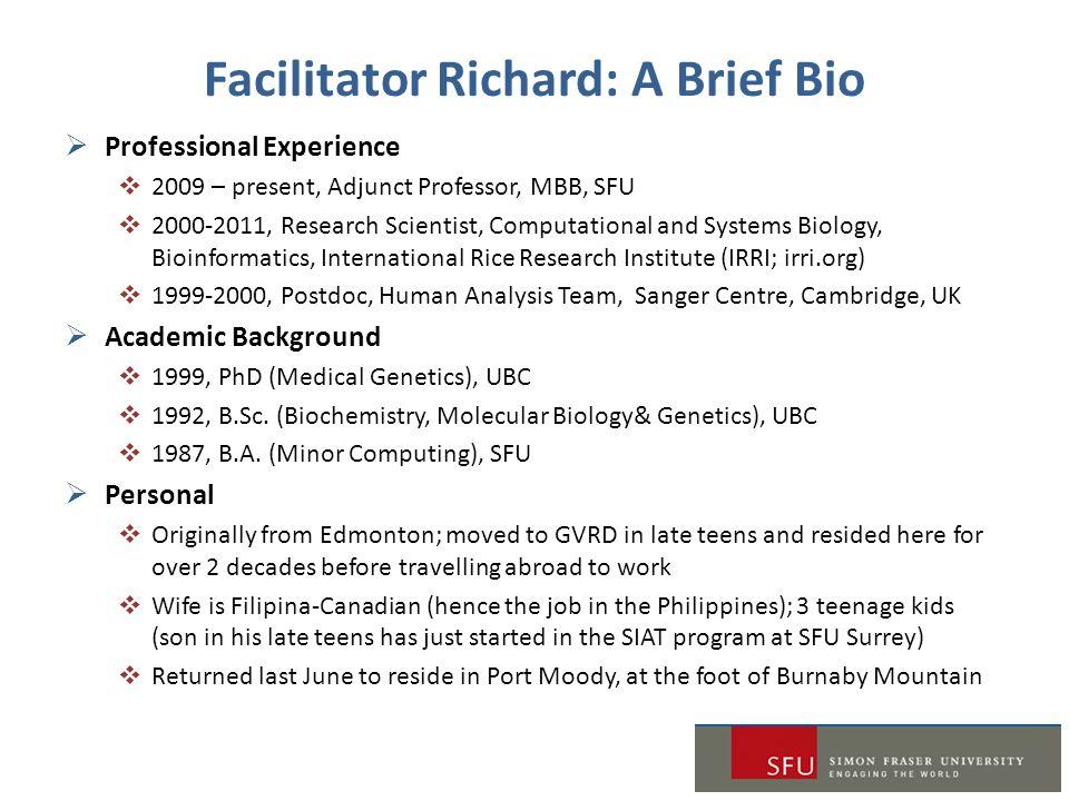 Facilitator Richard: A Brief Bio