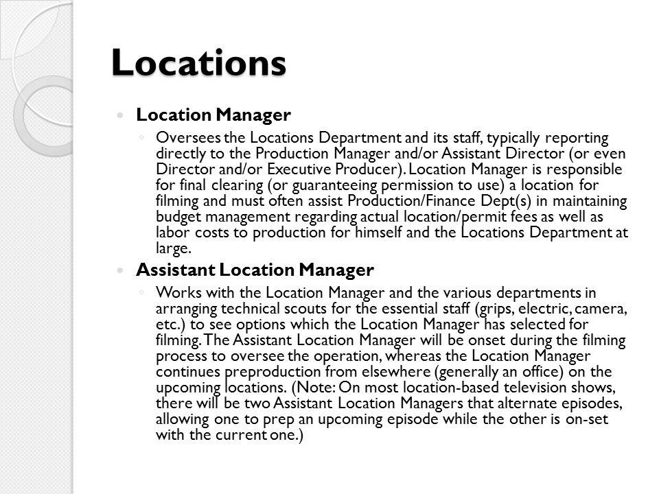 Locations Location Manager Assistant Location Manager