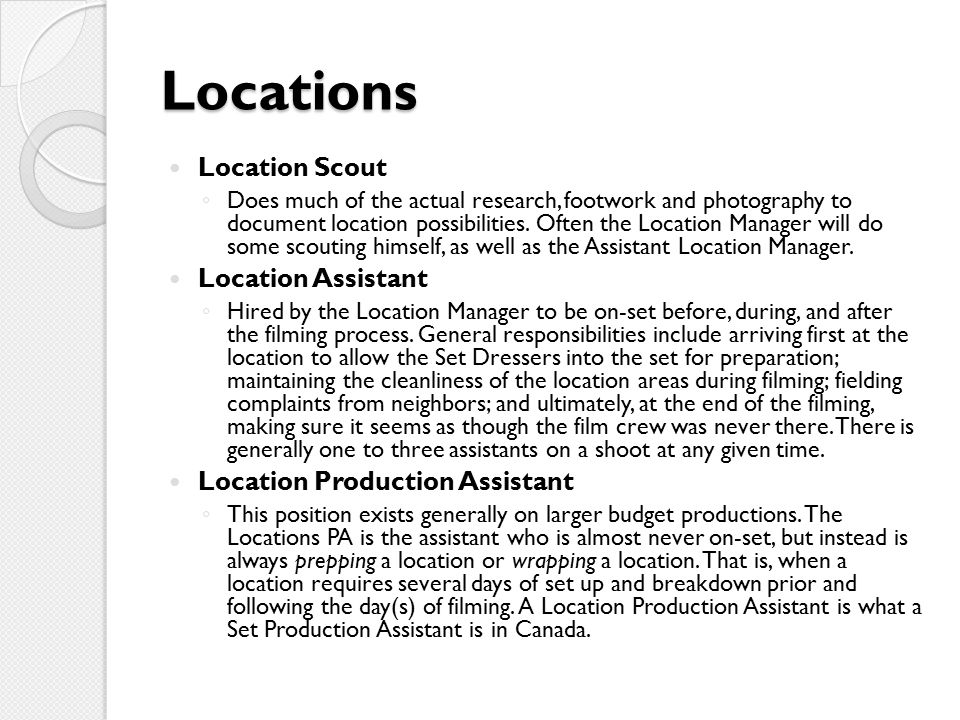 Locations Location Scout Location Assistant