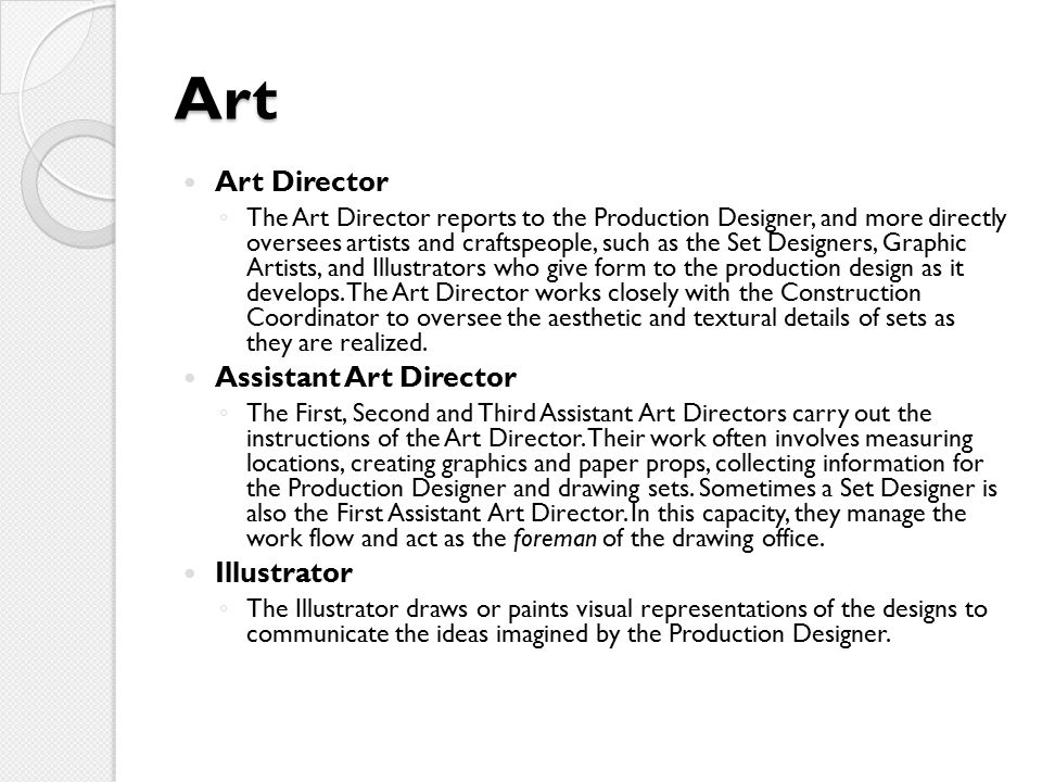 Art Art Director Assistant Art Director Illustrator