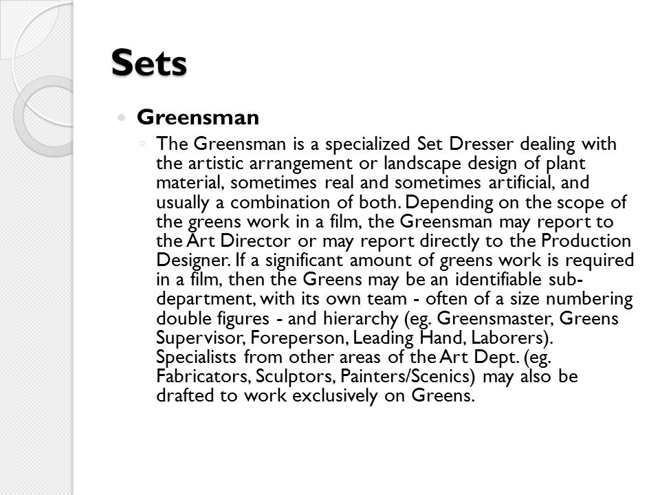 Sets Greensman.