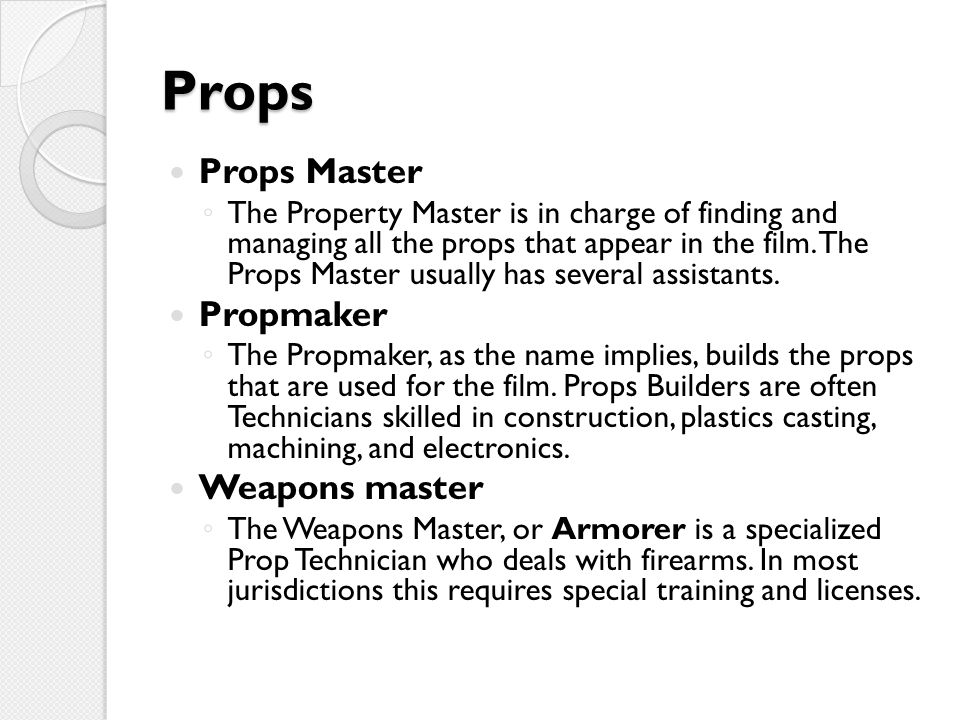 Props Props Master Propmaker Weapons master