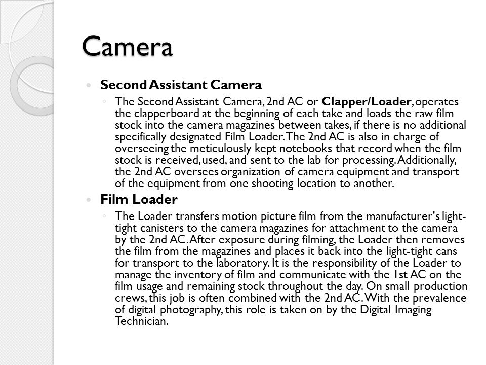 Camera Second Assistant Camera Film Loader