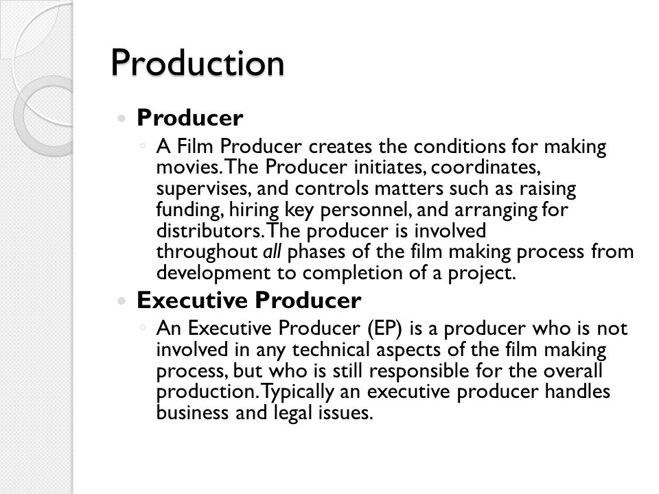 Production Producer Executive Producer
