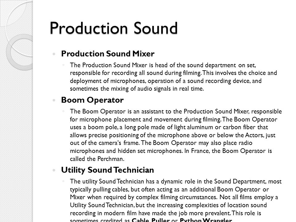 Production Sound Production Sound Mixer Boom Operator