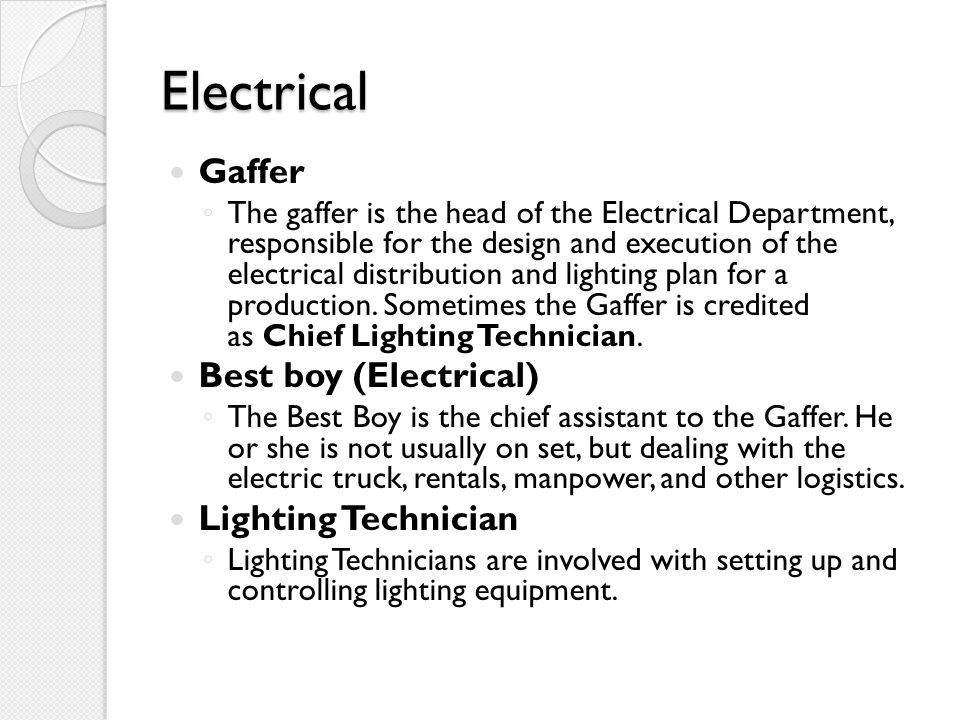 Electrical Gaffer Best boy (Electrical) Lighting Technician
