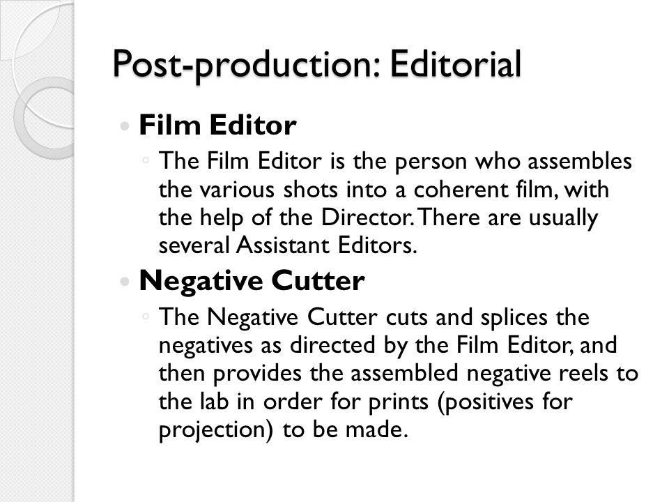 Post-production: Editorial