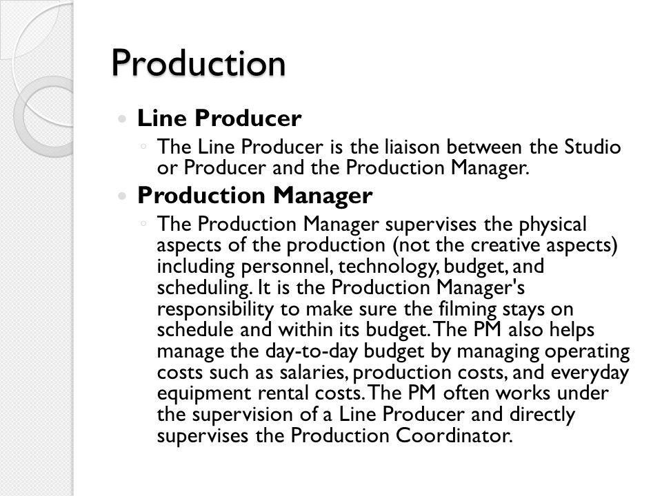 Production Line Producer Production Manager