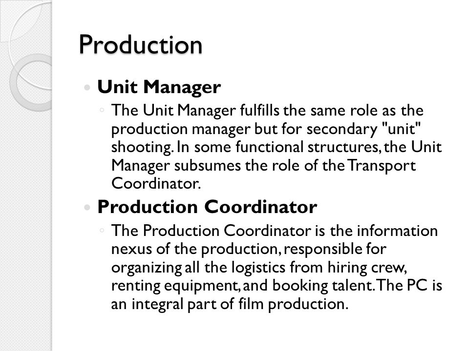 Production Unit Manager Production Coordinator