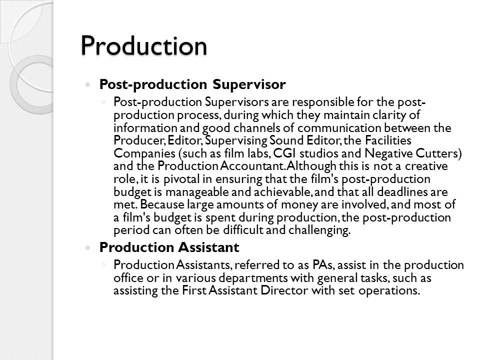 Production Post-production Supervisor Production Assistant