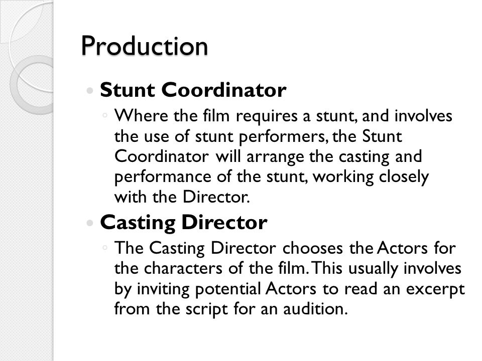 Production Stunt Coordinator Casting Director