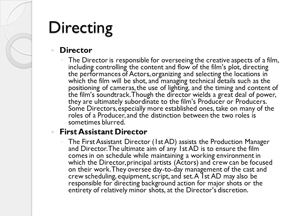 Directing Director First Assistant Director