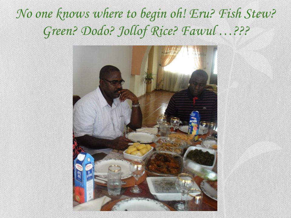 No one knows where to begin oh. Eru. Fish Stew. Green. Dodo