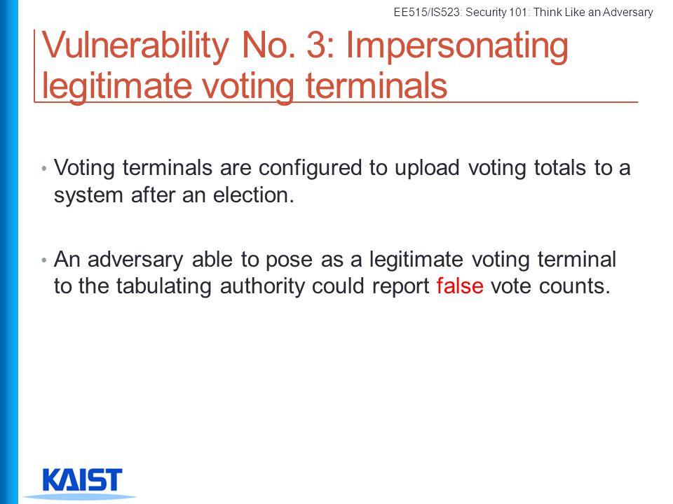 Vulnerability No. 3: Impersonating legitimate voting terminals