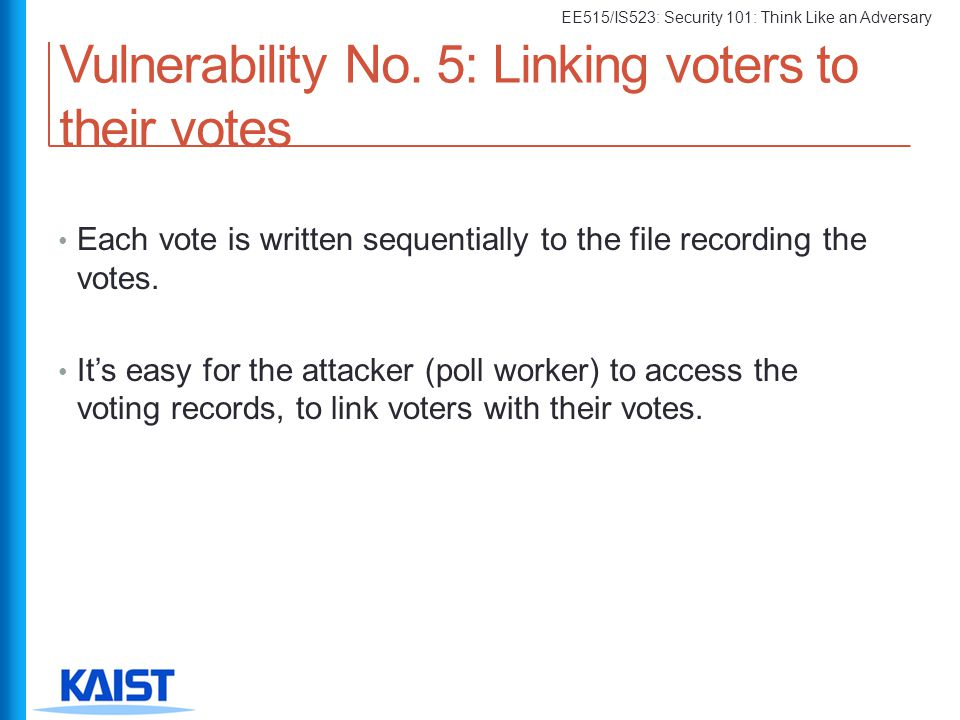 Vulnerability No. 5: Linking voters to their votes