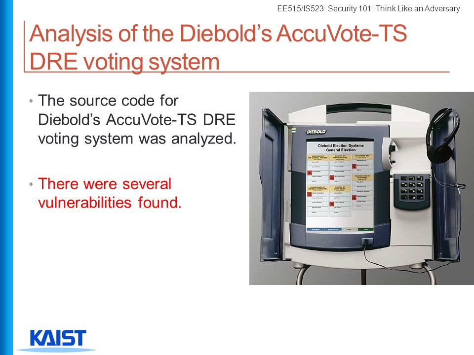 Analysis of the Diebold's AccuVote-TS DRE voting system