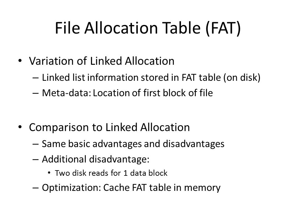 File Allocation Table (FAT)