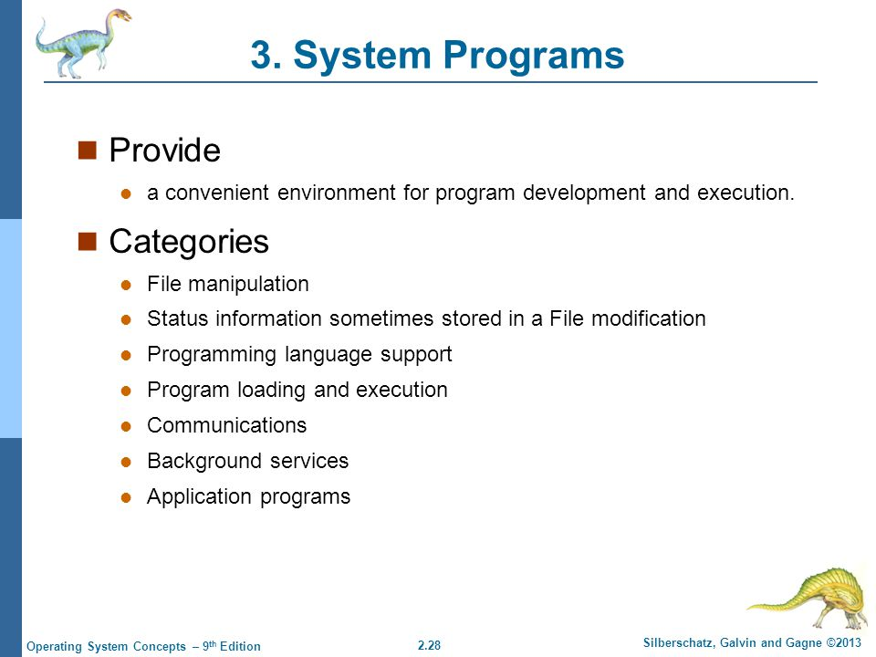 3. System Programs Provide Categories