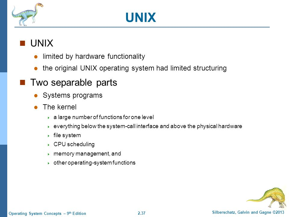 UNIX UNIX Two separable parts limited by hardware functionality