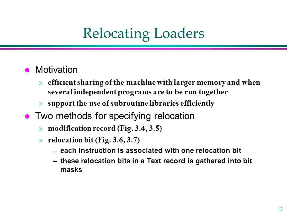 Relocating Loaders Motivation Two methods for specifying relocation