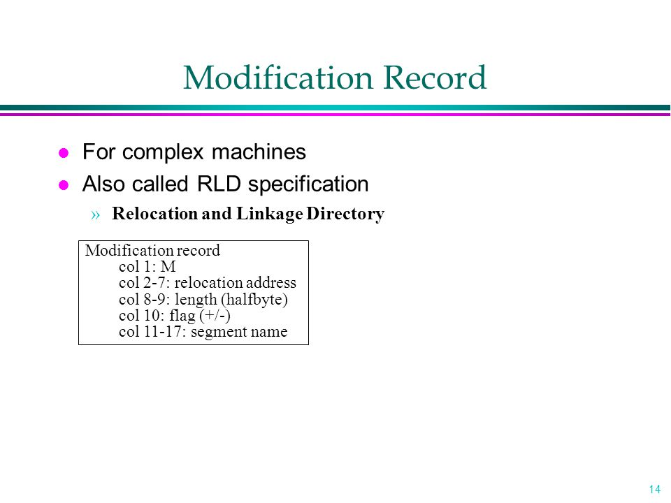 Modification Record For complex machines Also called RLD specification