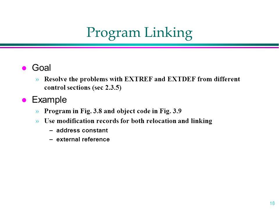 Program Linking Goal Example