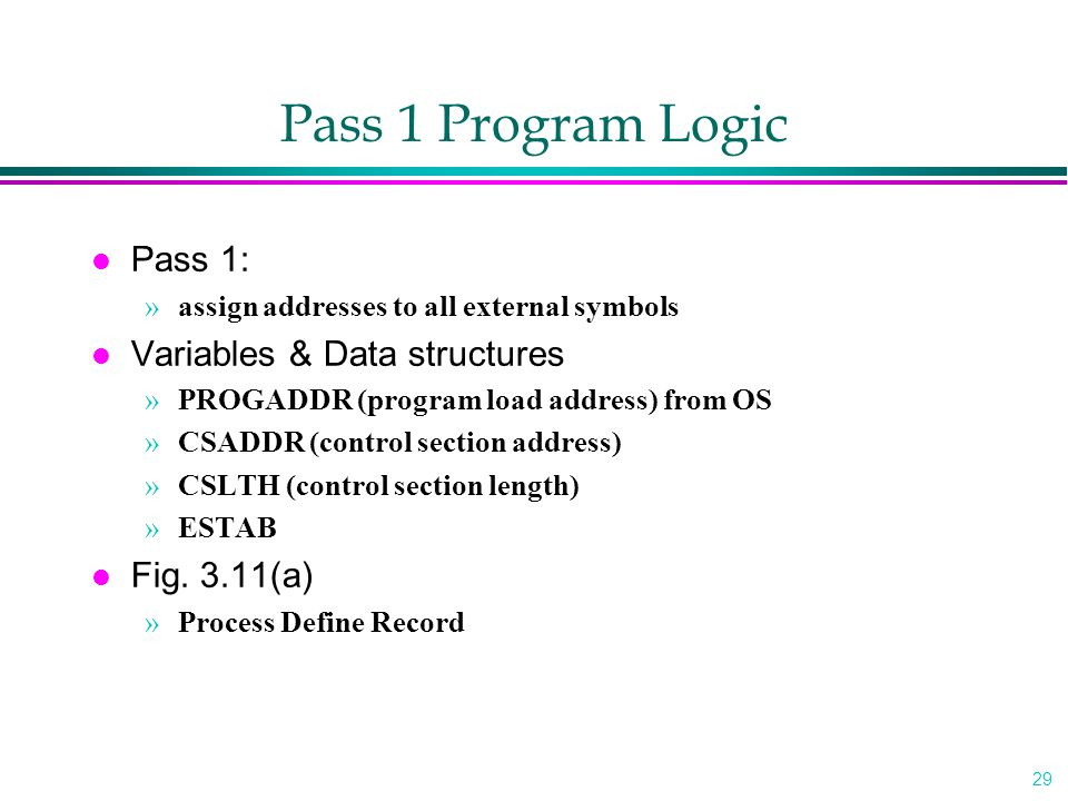 Pass 1 Program Logic Pass 1: Variables & Data structures Fig. 3.11(a)