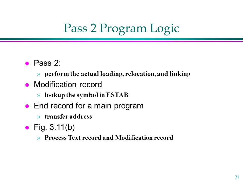 Pass 2 Program Logic Pass 2: Modification record