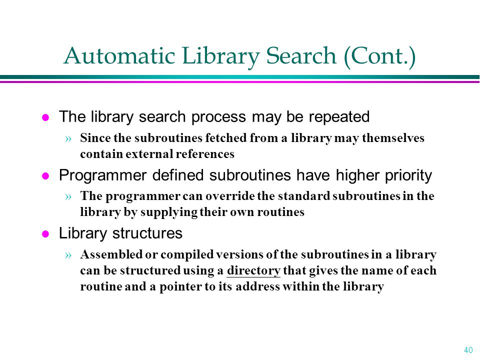 Automatic Library Search (Cont.)