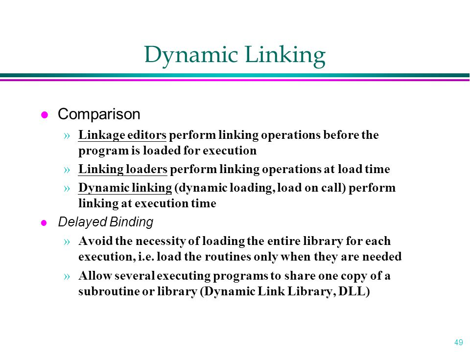 Dynamic Linking Comparison