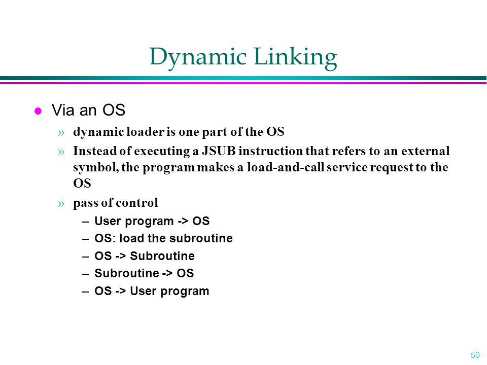 Dynamic Linking Via an OS dynamic loader is one part of the OS