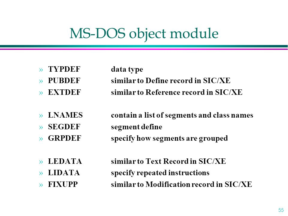 MS-DOS object module TYPDEF data type