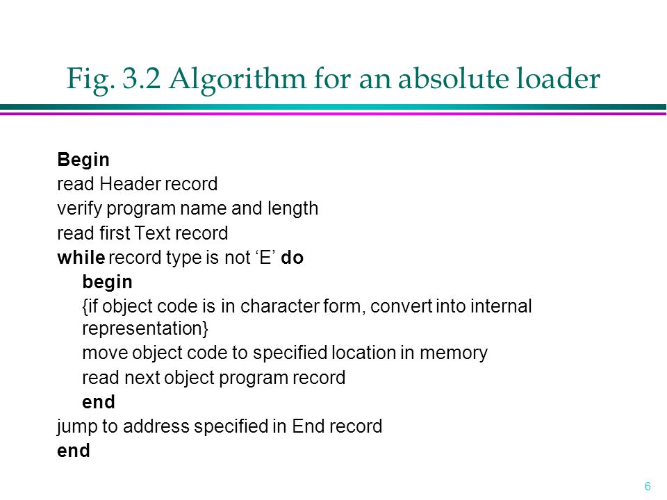 Fig. 3.2 Algorithm for an absolute loader