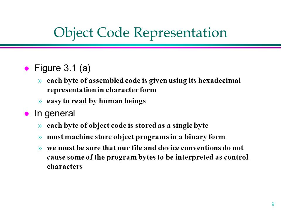 Object Code Representation