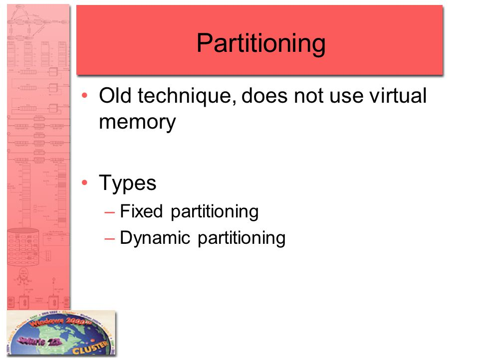 Partitioning Old technique, does not use virtual memory Types